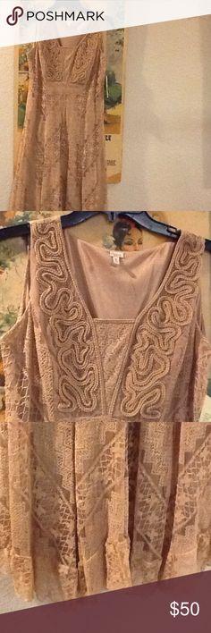 "Reba ""Fall Harmony"" Dress ""Reba"" Camel lace overlay dress with bead embellishment. Lined. MIDI length Reba Dresses Midi"