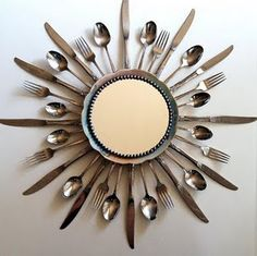 new uses for old silverware......put a mirror in the center or use a wall clock