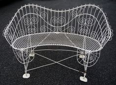 Wire Garden Bench Baltimore c. 1880 from dixonsantiques on Ruby Lane Salterini, Tea Caddy, French Country Style, Wrought Iron, Baltimore, Antique Furniture, Love Seat, Bench, Wire