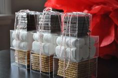 Looking for a nice DIY holiday gift? Treat the foodies on your Christmas list to these adorable homemade S'mores kits. Winter Wedding Favors, Diy Wedding Favors, Party Favors, Fall Wedding, Wedding Ideas, Trendy Wedding, Wedding Bonfire, Wedding Reception, Rustic Wedding