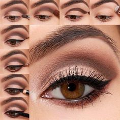 18 Trendy Ideas For Eye Shadow Tutorial Hooded Make Up - Eye-Makeup Hazel Eye Makeup, Eye Makeup Steps, Blue Eye Makeup, Makeup For Brown Eyes, Makeup Inspo, Makeup Tips, Makeup Hacks, Hooded Eye Makeup Tutorial, Eyeliner