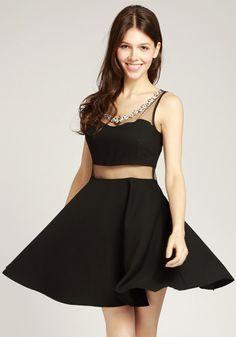 Black Sheer Detail Dress
