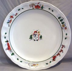 PFALTZGRAFF SNOW VILLAGE 7 DINNER PLATES CHRISTMAS WINTER HOLIDAY DISHES