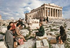 """natgeofound: """"Greek emigrants to Australia take a farewell tour of the Parthenon, December Photograph by Otis Imboden, National Geographic """" National Geographic Society, National Geographic Photos, Greece Pictures, Old Pictures, Parthenon, Acropolis, Public, History Of Photography, Travel Photography"""