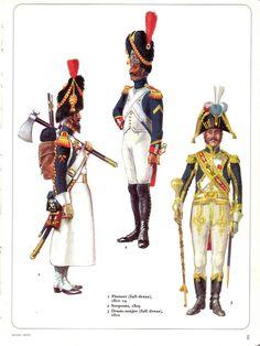 Zappatore, sergente e tamburo maggiore della guardia imperiale