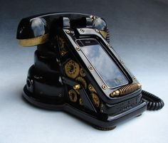 iRetrofone Steampunk - Black/Gold - iPhone dock. $350.00, via Etsy.  ( I am completely in love with this thing! ) ~j.j.