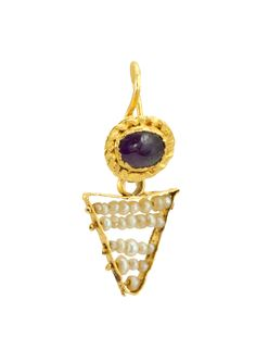 Ancient Roman, red garnet and seed pearl pendant
