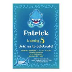 Shark Birthday Party Invitation Aquarium Boys - giftidea gift present idea 10th tenth bday birthday 10thbirthday party teen