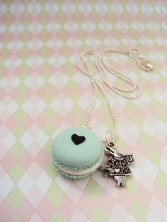 Macaron Alice in Wonderland Necklace Polymer Clay, Miniature Clay Dessert Food Jewelry, Ball Chain, Fake Food