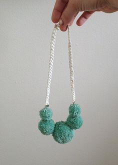 PomPom Necklace - Mint & White - Cotton & Leather -by KMWKCreativeStudio    #pompom #kmwkcreativestudio