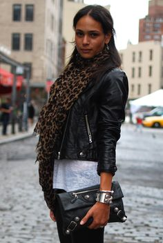 Animal print scarf and leather jacket..