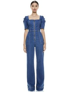 KENNEDY PUFF SLEEVE JUMPSUIT in OFF THE CUFF | Alice and Olivia Jeans Jumpsuit, Jumpsuit With Sleeves, Ladies Jumpsuit, Casual Street Style, Street Style Women, Embroidered Jacket, Denim Outfit, Up Girl, Vintage Denim