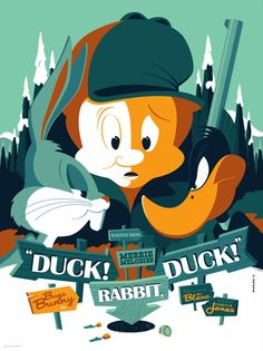 Tom Whalen Looney Tunes Posters with Bugs Bunny Elmer Fudd and Daffy Duck On Sale Today at Mondo Looney Tunes Cartoons, Retro Cartoons, Classic Cartoons, Cool Cartoons, Cartoon Posters, Disney Posters, Cool Posters, Cartoon Characters, Movie Posters