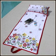 Beach Bag Towel... so cute, rolls up into it's own bag.  May Arts Blog.