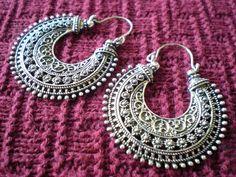 Tribal Filigree Ethnic Gypsy Earrings Silver Brass Gold Tone Dangle Hoop Spiral Detail Funky Unique 20 18 gauge 1mm Normal Standard Piercing