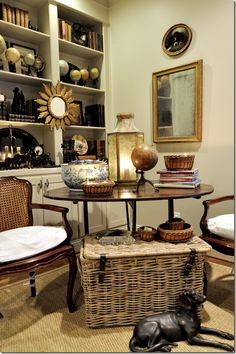 So many clients on Antiques Diva European Tours are looking for antique globes - Joanie From the Cote de Texas - does an excellent job displaying hers in her family room