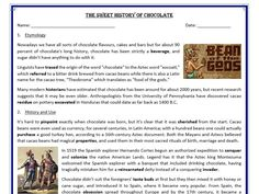 The Sweet History of Chocolate - Reading Comprehension (text) Chocolate Names, History Of Chocolate, Comprehension Exercises, Reading Comprehension, Learn English, Bats, Teaching Resources, Lesson Plans, Worksheets