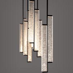 The Kori Chandelier showcases the magical texture of cast glass as it is lit from underneath. True to it is name 'ice' in Japanese, when… Interior Lighting, Home Lighting, Lighting Design, Pendant Chandelier, Chandelier Lighting, Chandeliers, Holly Hunt, Compact Fluorescent Bulbs, Cast Glass