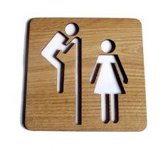 Tabliczka dębowa WC, niepowtarzalna ozdoba w e-form na DaWanda.com