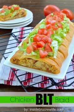 BLT Chicken Braid |nside BruCrew Life - a chicken, bacon, and cheese filling braided into a Pillsbury crescent roll and topped with lettuce and tomato #crescentrolls #pillsbury