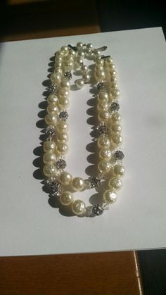 Bridal Necklace White Beads Clear Crystals Rhinestone Studded Beads Wedding Jewelry Gift for Her Bridal Party Birthday