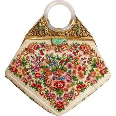 Jade Silver Gilt Embroidered Flower Purse 1930's from Antiques of River Oaks on Ruby Lane $2,250 - Questions Call: 713-961-3333