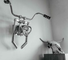 Mountable Motorcycle Parts For Your House - Bull's Skull Light Fixture - Supercompressor.com