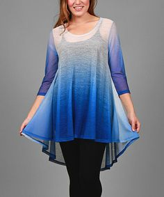 Look at this #zulilyfind! White & Blue Sheer Ombré Tunic - Plus #zulilyfinds