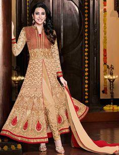Cream Color Designer Anarkali suit from riwaazcouture