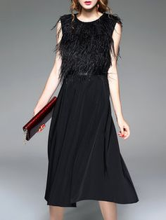 Elegant Sleeveless Feather-trimmed Midi Dress