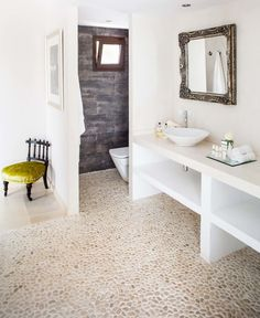 Pebble tile floor - Java Tan - love the contrast with white and wood in a bathroom...