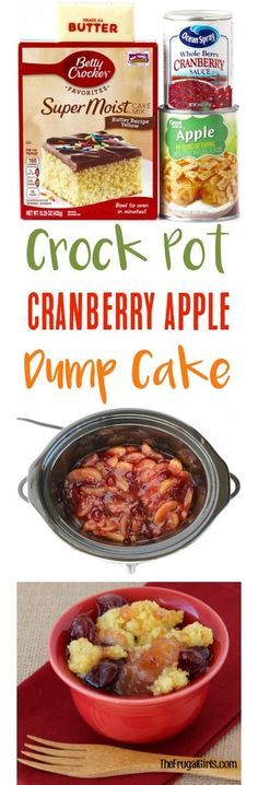 Crock Pot Cranberry Apple Dump Cake Recipe!  Just 4 ingredients and you've got the perfect holiday dessert!   TheFrugalGirls.com