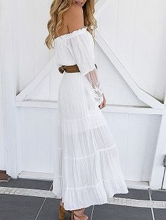 e283907ed4c White Off Shoulder Lace Panel Flare Sleeve Maxi Dress - Choies.com