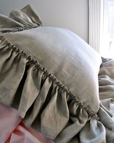 Large Floppy Ruffle Linen Pillow by PaulaAndErika on Etsy, $45.00