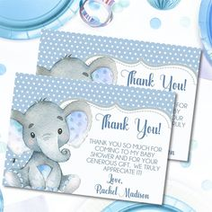 Blue Baby Elephant Baby Shower Thank You Cards Print Thank You Cards, Baby Shower Thank You Cards, Baby Boys, Storybook Baby Shower, Sunflower Baby Showers, Stylish Baby, Invitation Set, Baby Elephant, Card Stock