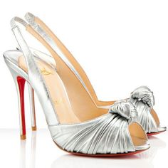Color: Silver Material:Leather Have a peep toe Heel measures approximately 100mm/4 inches Signature red leather sole Place of Origin
