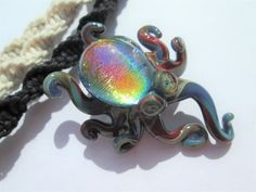 Octopus- Awesome Rainbow Dichroic Glass Octopus Pendant on Handmade Hemp Necklace in Your Choice of Color- OOAK Rainbow Glass Octopus by EssentiallyErin on Etsy