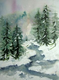 Winter Brook, Print of Original Watercolor Landscape Painting matted 10x8 and ready to frame 14x11,winter painting,winter landscape,snow art
