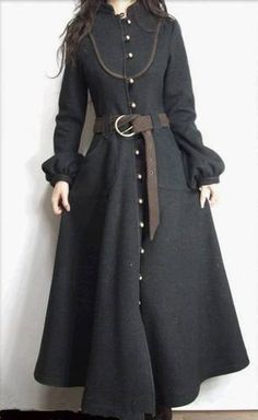 Beautiful and practical Victorian gothic or primitive folk style fashion maxi coat , riding, military style cut love it to death looks to get Folk Fashion, Hijab Fashion, Womens Fashion, Fashion Goth, Fashion Models, Coat Outfit, Inspiration Mode, Mode Hijab, Mode Vintage