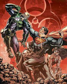 Superman vs Lex Luthor, Batman and Wonder Woman by Jason Fabok Marvel Dc Comics, Dc Comics Art, Alexander Luthor, Jim Lee, Univers Dc, Batman Vs Superman, Superman Vs Darkseid, Lex Luthor Superman, New 52