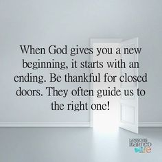 Lessons Learned in Life | Closed doors.