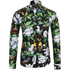 APTRO Men's 100% Cotton Floral Shirt Long Sleeve Flower Shirt