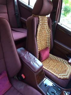 Mercedes armrest with pinstripe stitching.