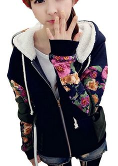 Harajuku Fashion Floral Students Baseball Jersey Hoodie Jacket http://momsmags.net/best-sweatshirt-hoodies-teen-girls/