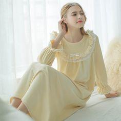 550502652 Зимняя ночная рубашка Для женщин Длинные Sheer Винтаж длинные ночная  рубашка с длинным рукавом супер мягкий