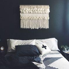 White weaving + dark walls = decor win