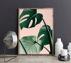 Palm Leaf Print Pink and Green Tropical Print by ShormanArtStudio