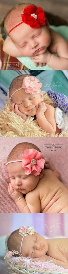 """This beautiful floral headband for newborn babies features a 2"""" coral organza flower, topped with faux pearls, set on a comfortable skinny elastic headband. The flower is backed on felt for comfort. Explore hairbands for little girls at http://thinkpinkbows.com/products/soft-breeze-organza-flower-headband-coral-19-colors-available 