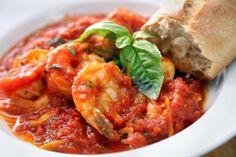 One of my favorite people on earth used to make me shrimp marinara! Shrimp alla Marinara, from Lidia Bastianich Shrimp Dishes, Shrimp Recipes, Pasta Dishes, Fish Recipes, Pasta Recipes, Cooking Recipes, Dinner Recipes, Vegetarian Recipes, Gastronomia