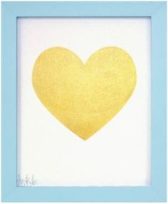 """Gold Heart"" by Izabella Denis, $95, 9"" x 11,"" available at Serena & Lily. #serenaandlily"